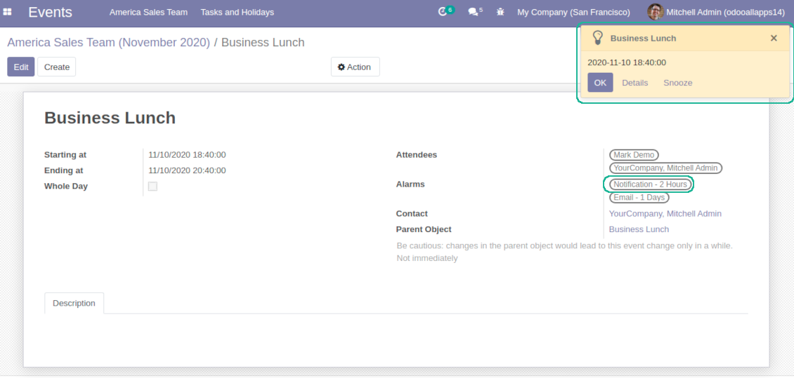Popup and email alarms for Odoo objects