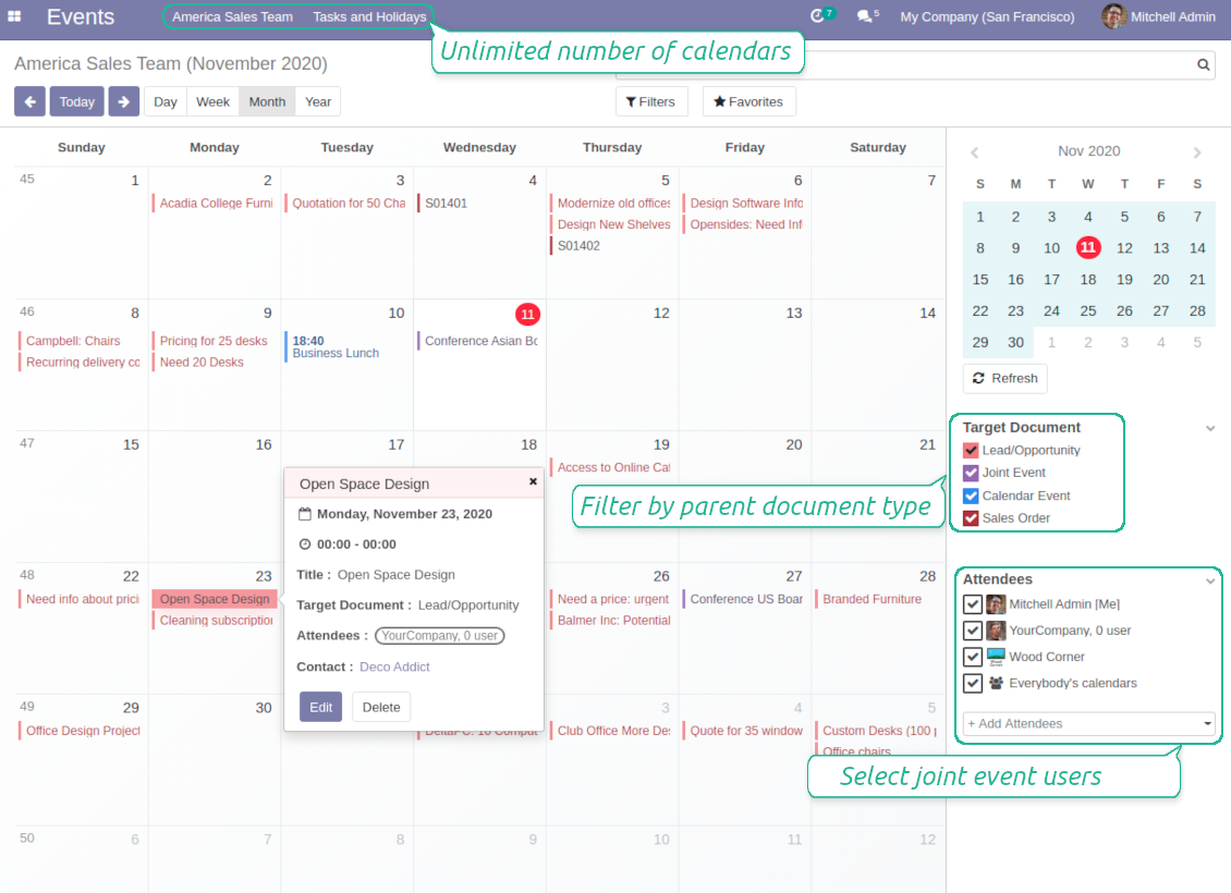 Odoo super calendar events