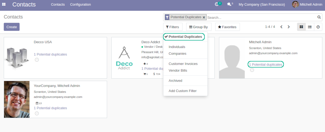 Odoo CRM duplicates kanban view and filter