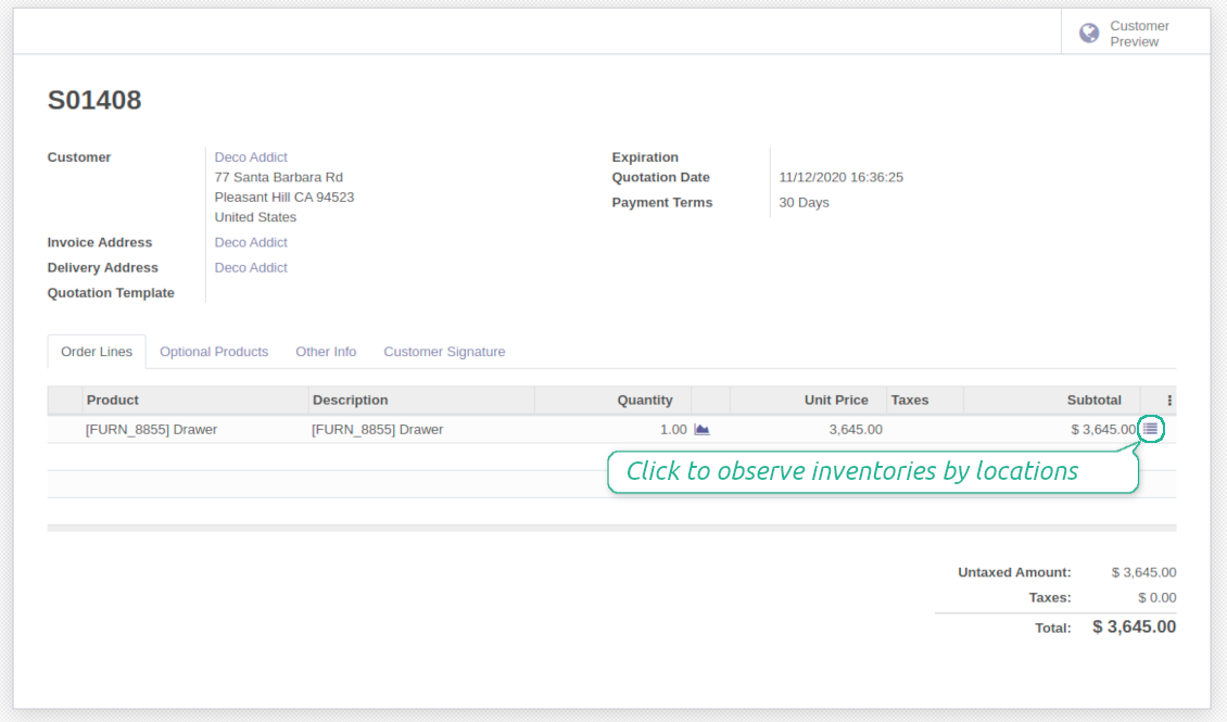 One click to observe inventories from a sale line