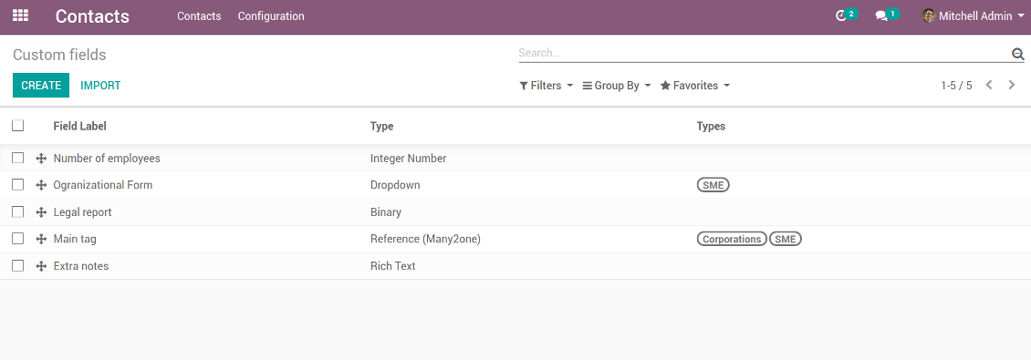 Customize properties of Odoo contacts