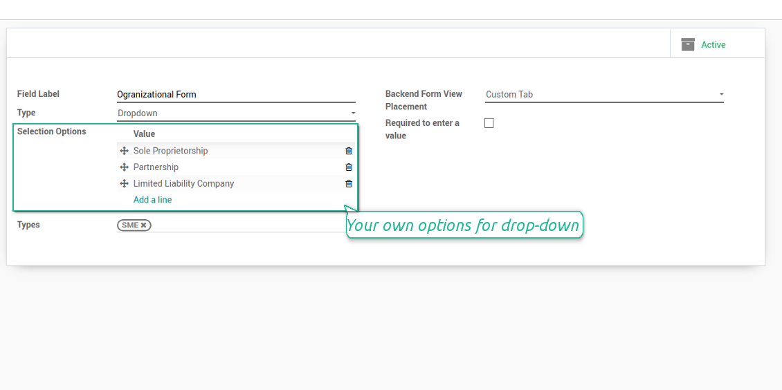 Selection fields for Odoo contacts