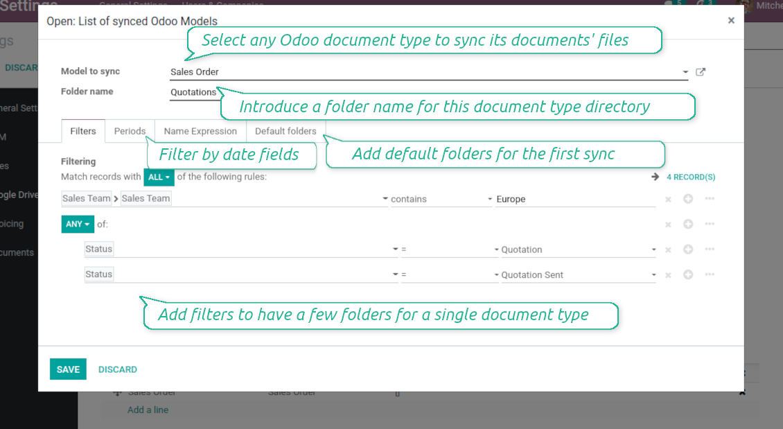 DropBox documents filtered
