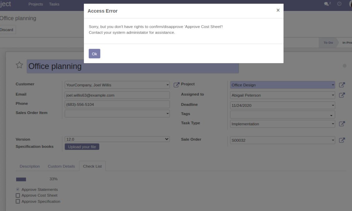 User groups per Odoo project check items
