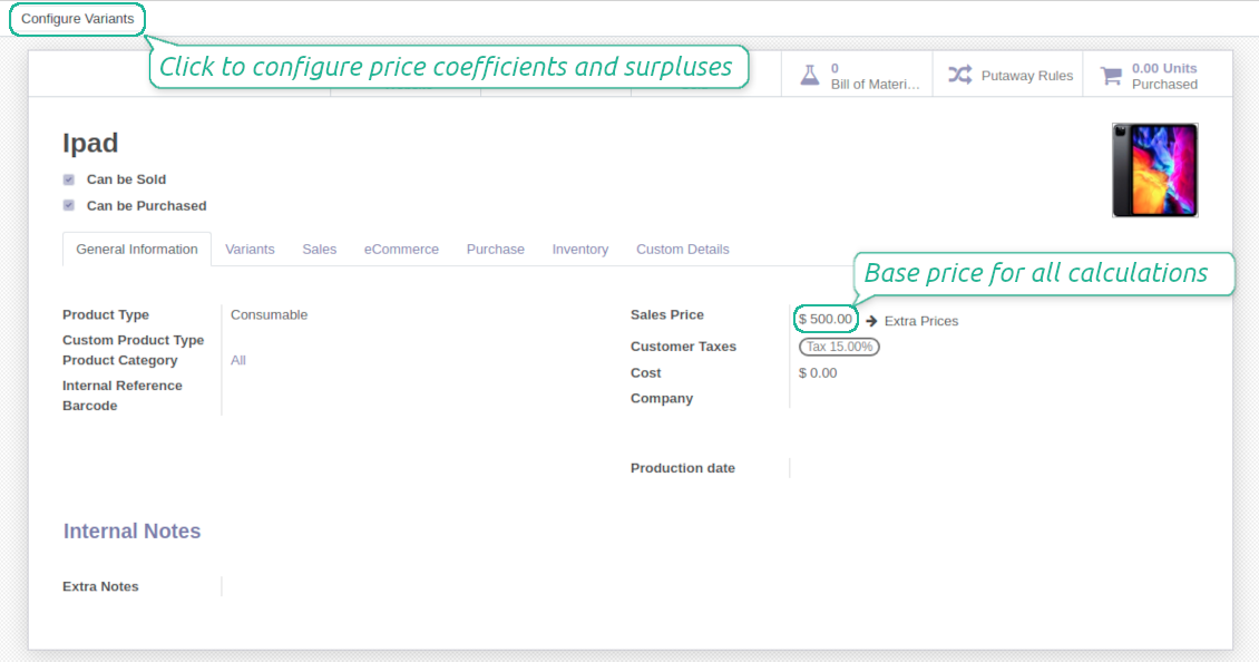 Odoo product template base price and attributes configuration