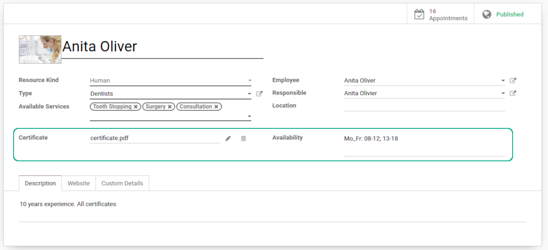Custom booking details in Odoo backend