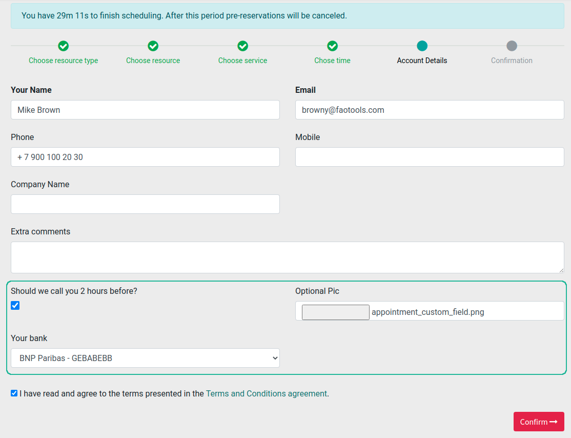 Appointment input form custom details