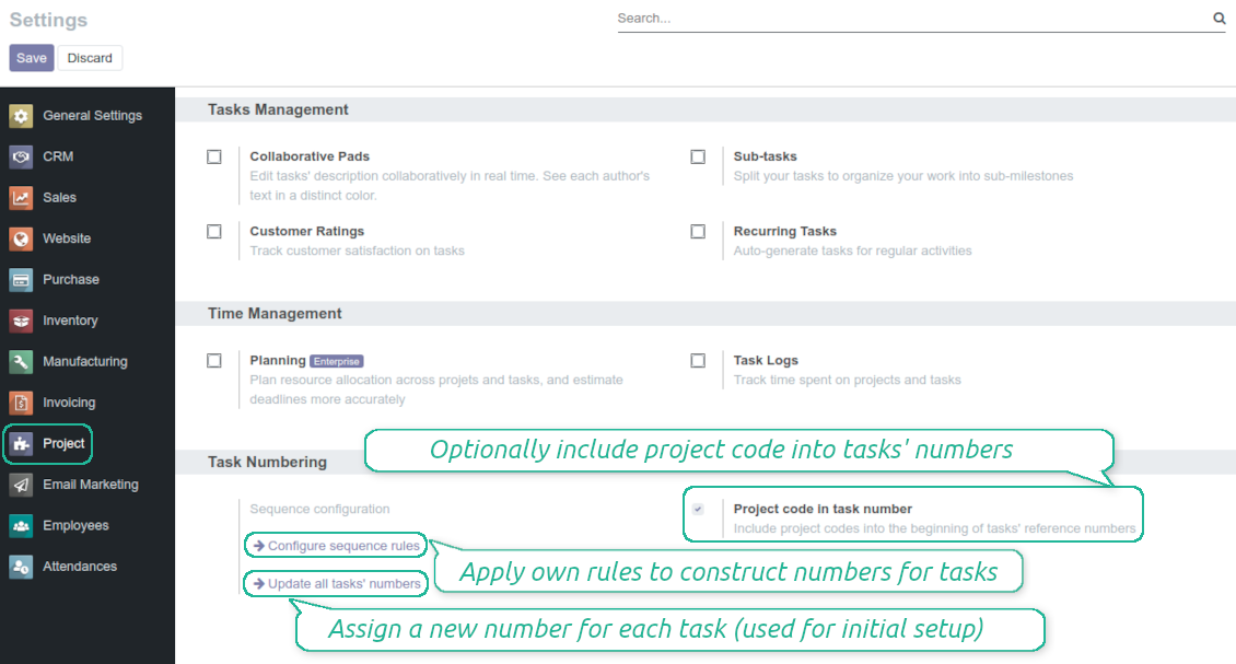 Odoo tasks numbers configuration