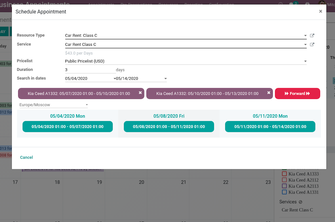 Appointment wizard multi scheduling