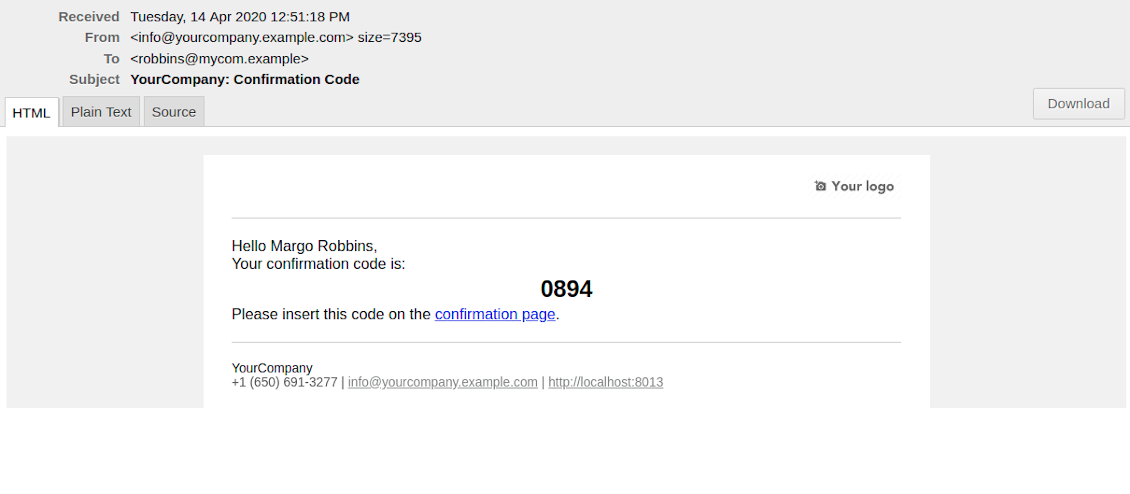 Email with booking confirmation code