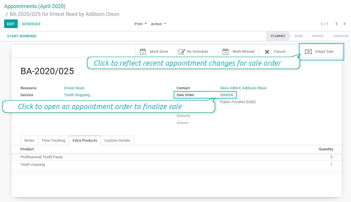 Appointment and sale order relation