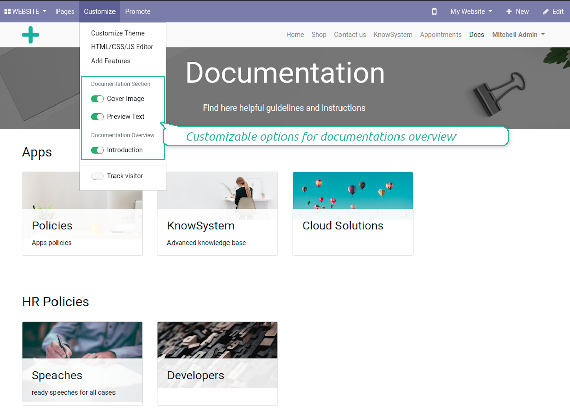 Documentation overview optional features