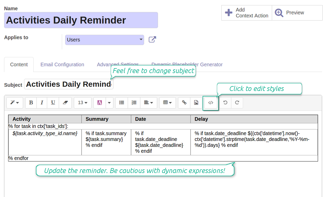 Odoo CRm daily reminder email template