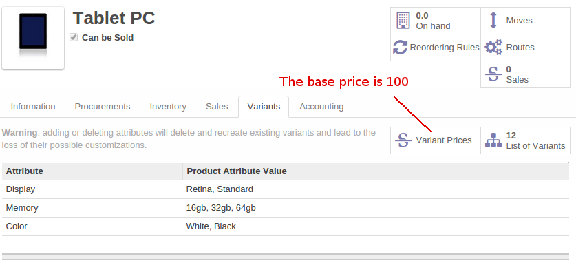 Odoo Click to configure attribute prices and coefficients