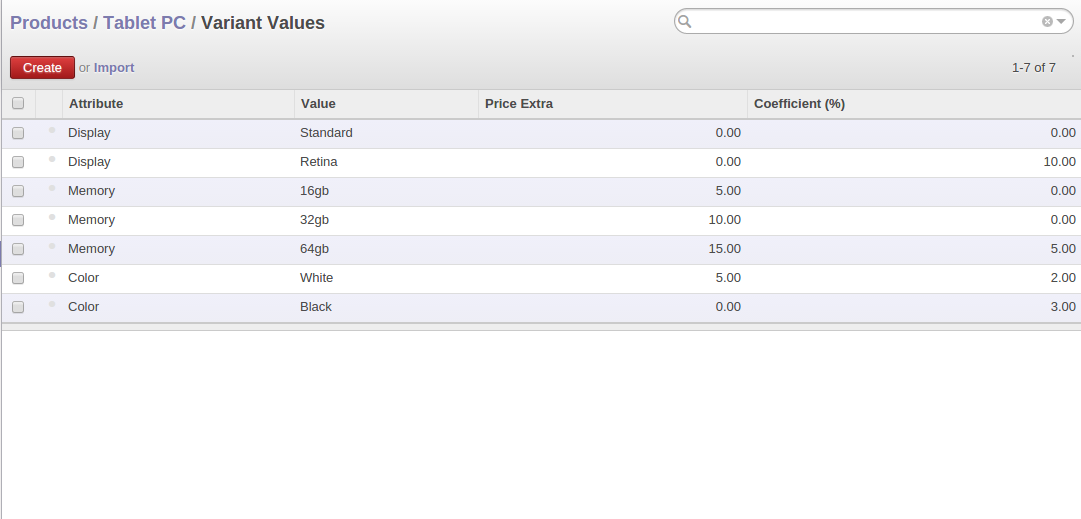 Odoo The list of attribute values, their extras and multipliers