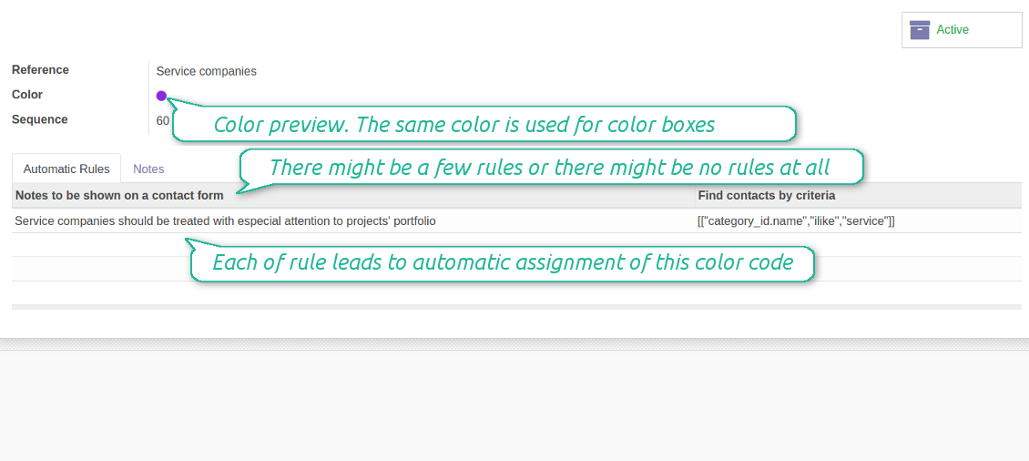 Color coding form