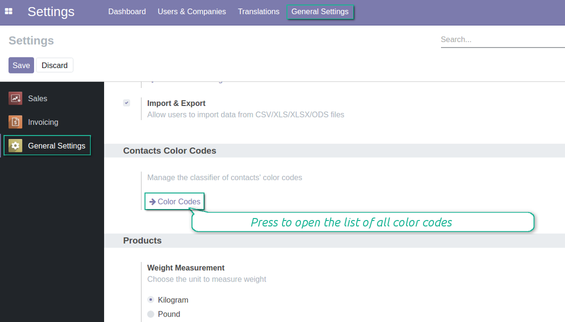 Odoo color codes general configuration