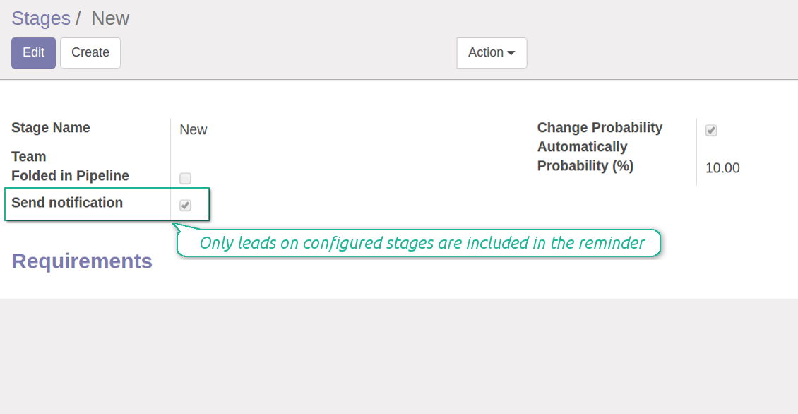CRM stages for reminder