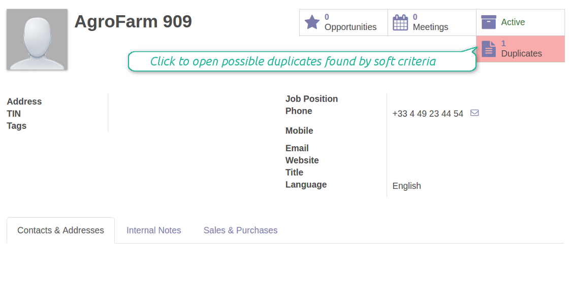 Odoo search customers duplicates