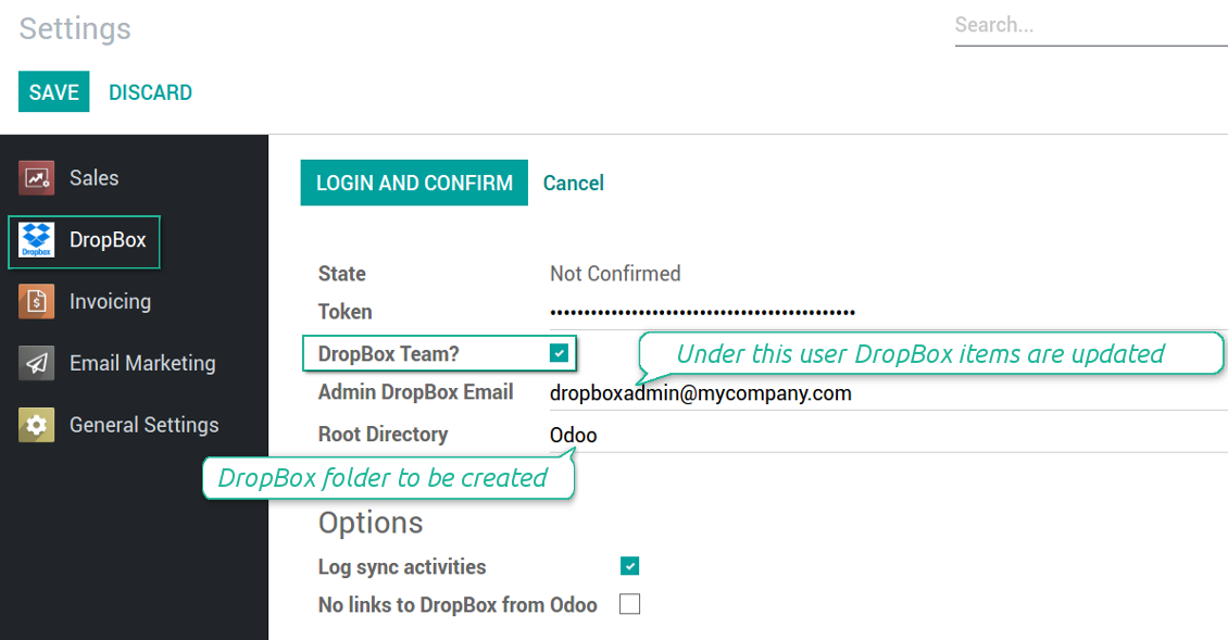 Odoo settings for DropBox team
