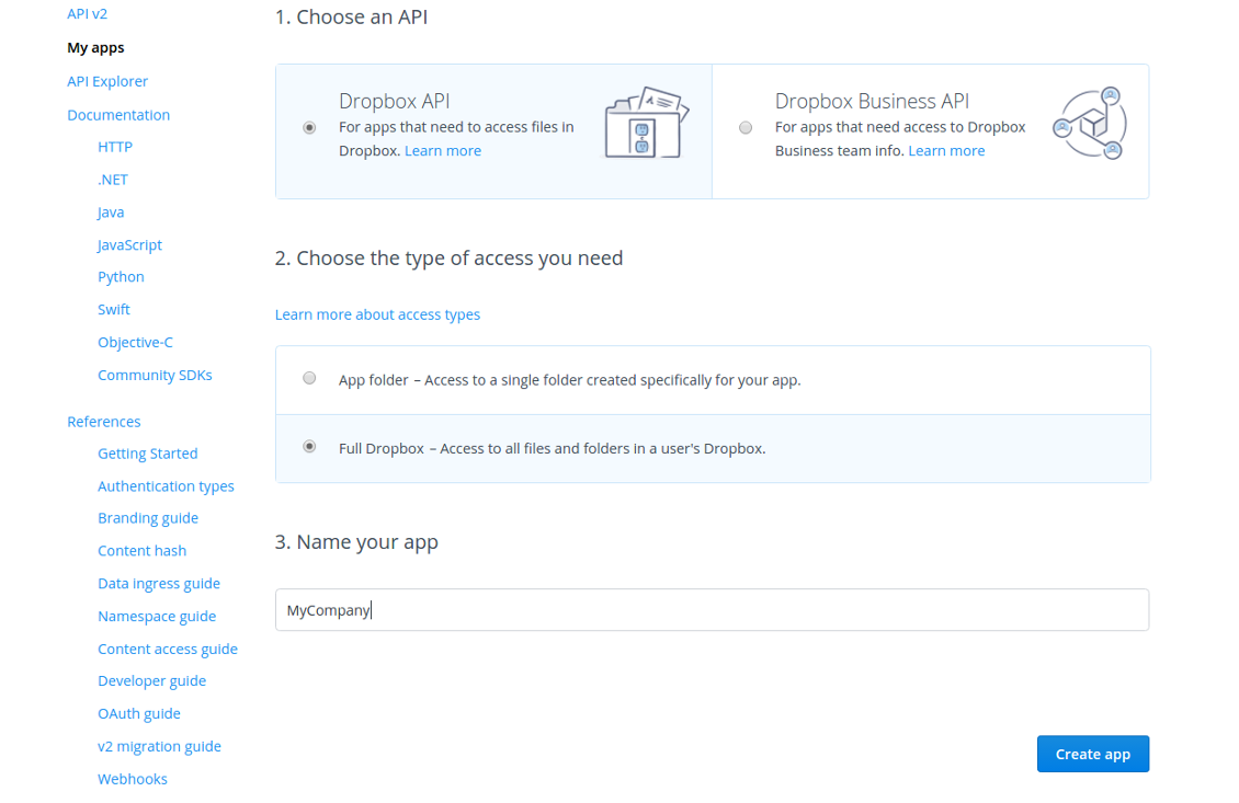 DropBox API simple app