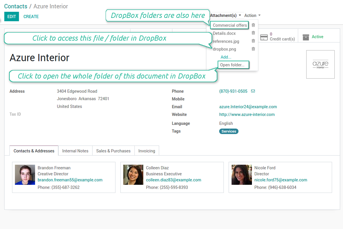 Integrate Odoo and DropBox