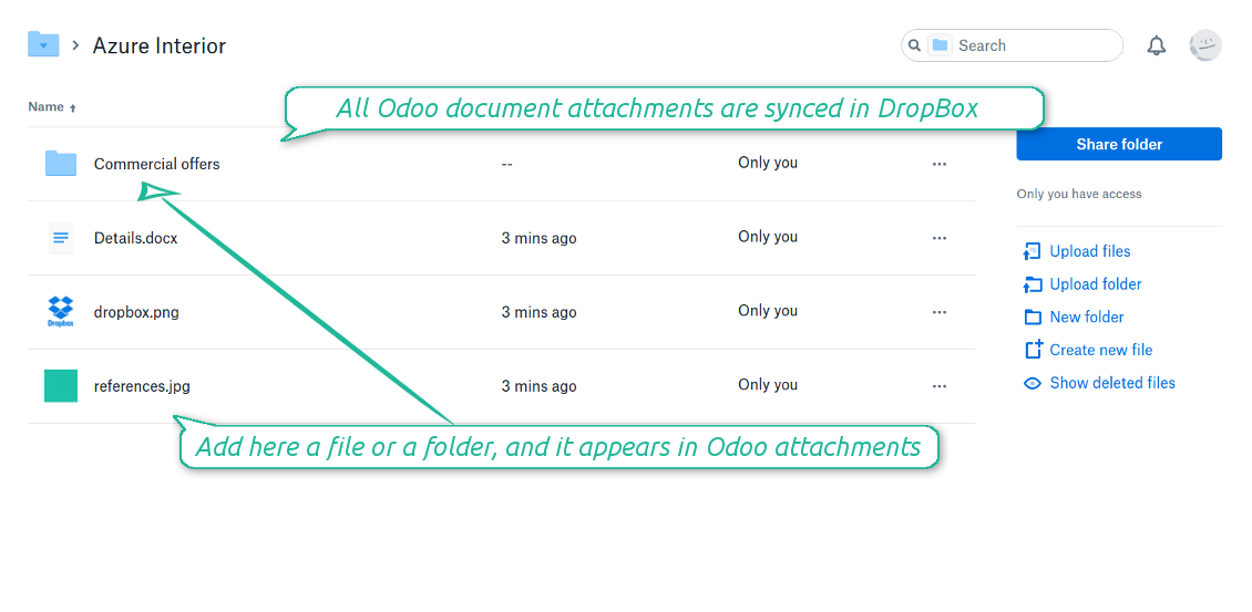 Odoo attachments as DropBox files