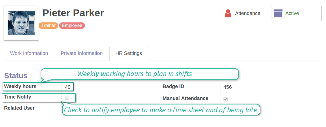 Timesheet employee settings