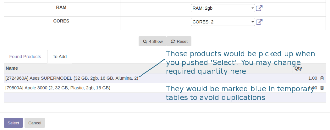 Odoo Add a few Products Simultaneously