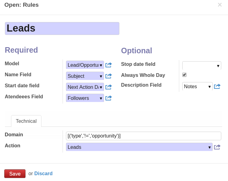 Odoo Rules to combine events