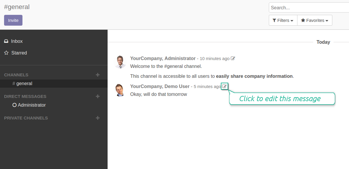 Odoo channels editable messages