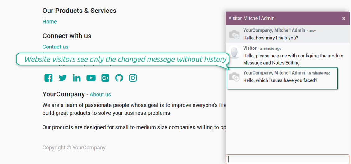Change messages with public users