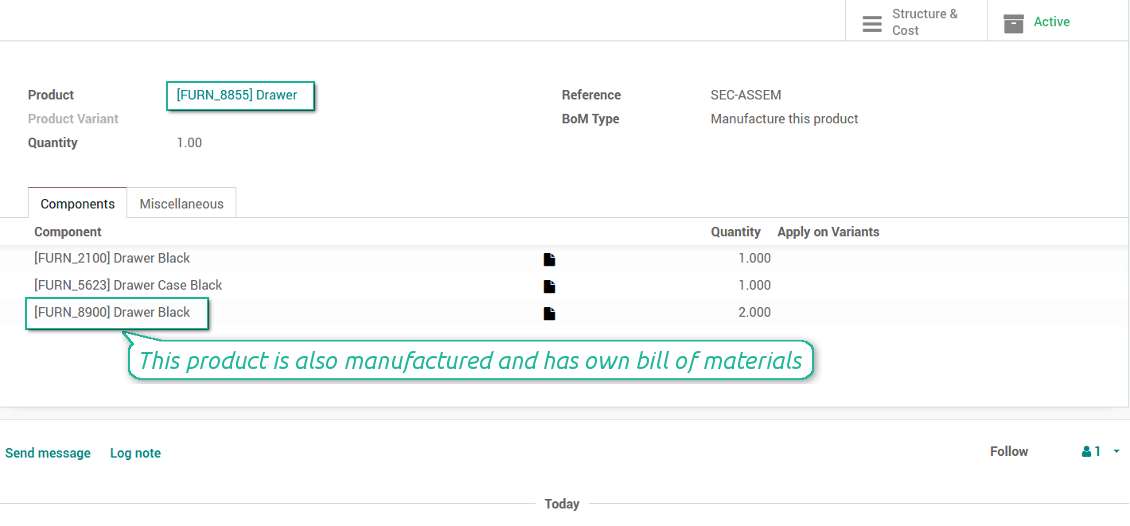 Odoo MRP Bill of Material