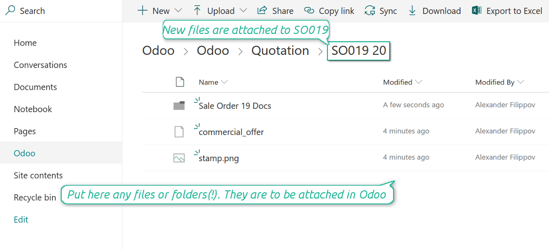 Odoo attachments as OneDrive files
