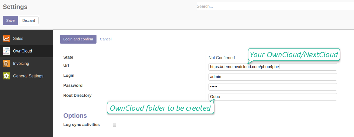OwnCloud / NextCloud settings