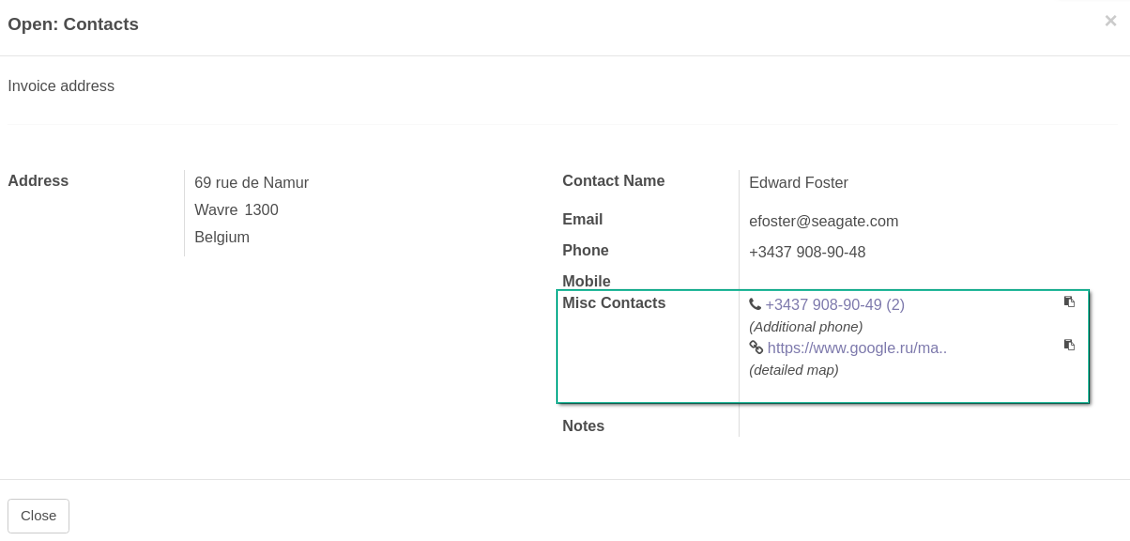 Multiple contact details for Odoo addresses