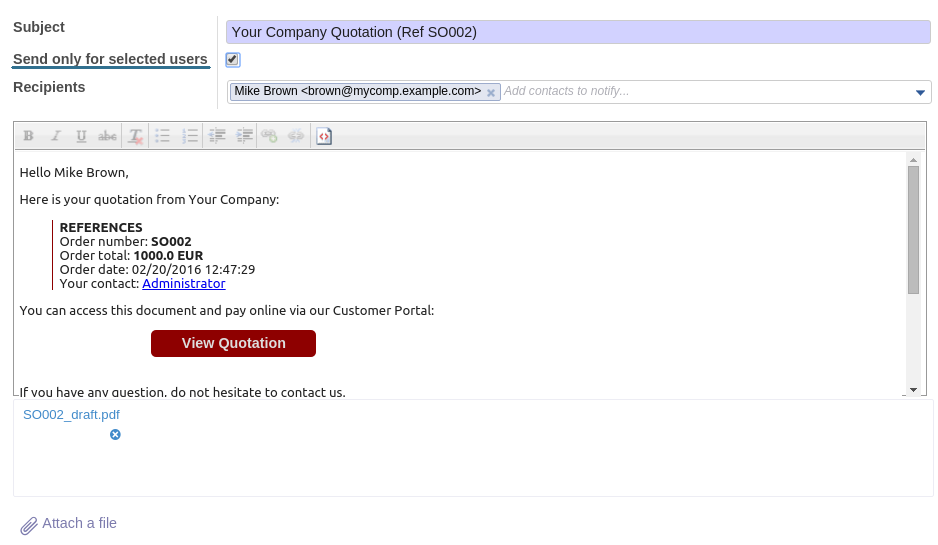 Odoo internal composer