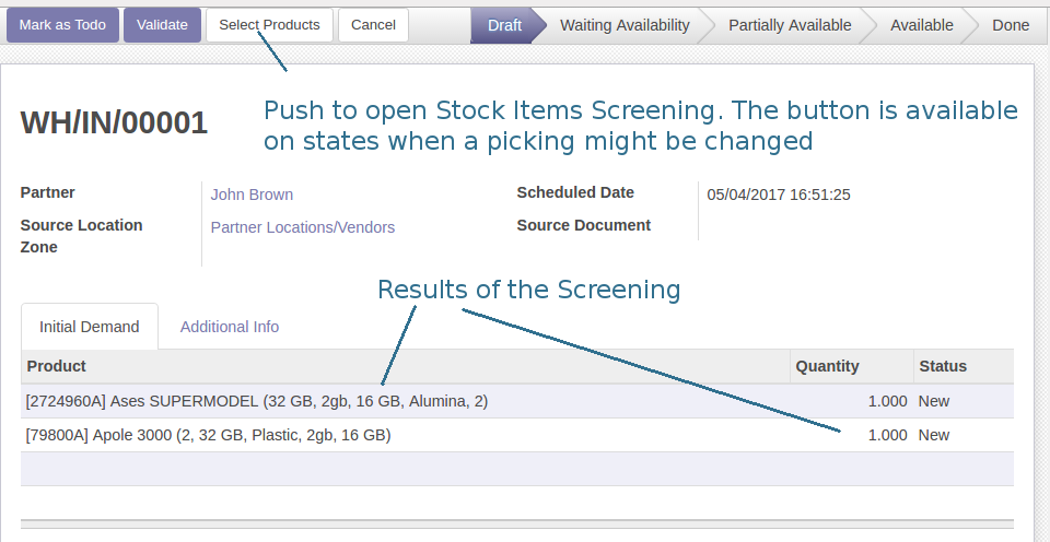 Odoo Register a Stock Picking