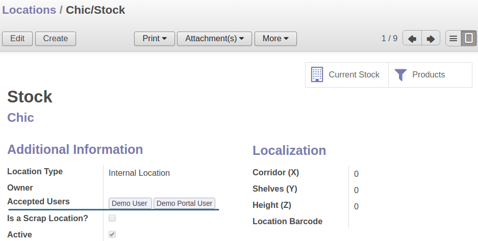 Odoo Locations Restricted Access