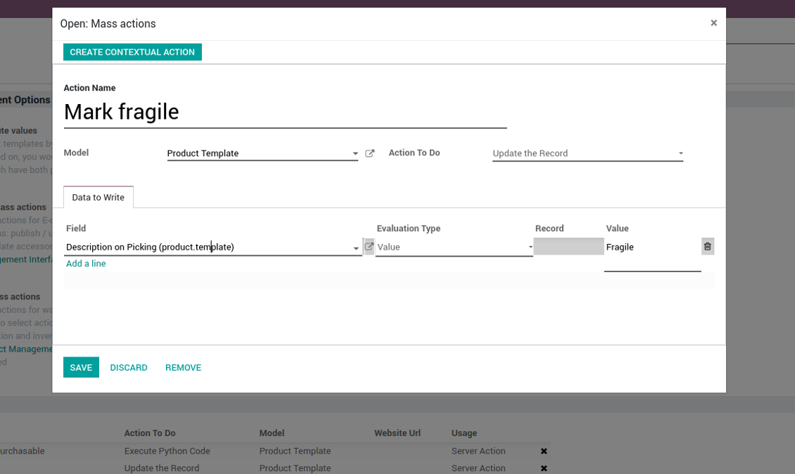 Odoo server action for product templates