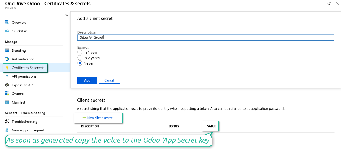 Odoo new OneDrive secret