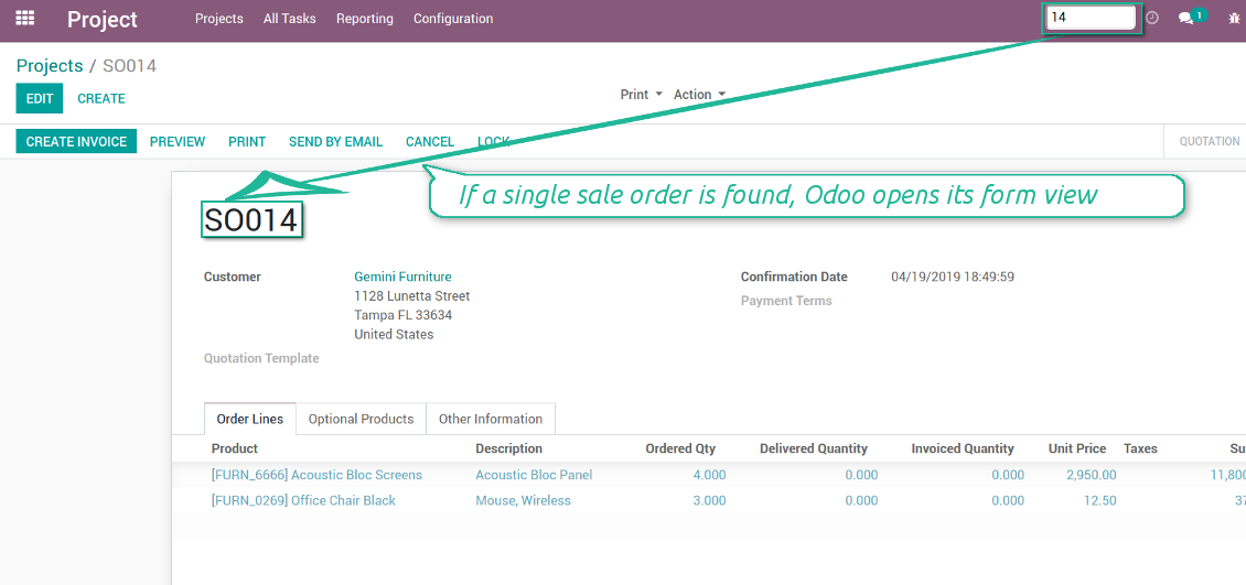 Found order form view