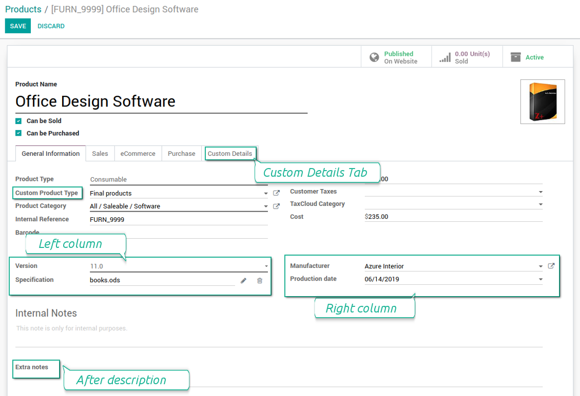 Customized form view of Odoo products