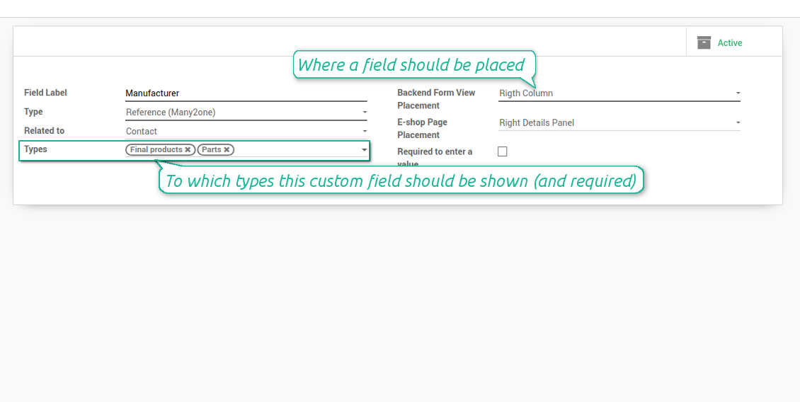 Custom fields depend on template types