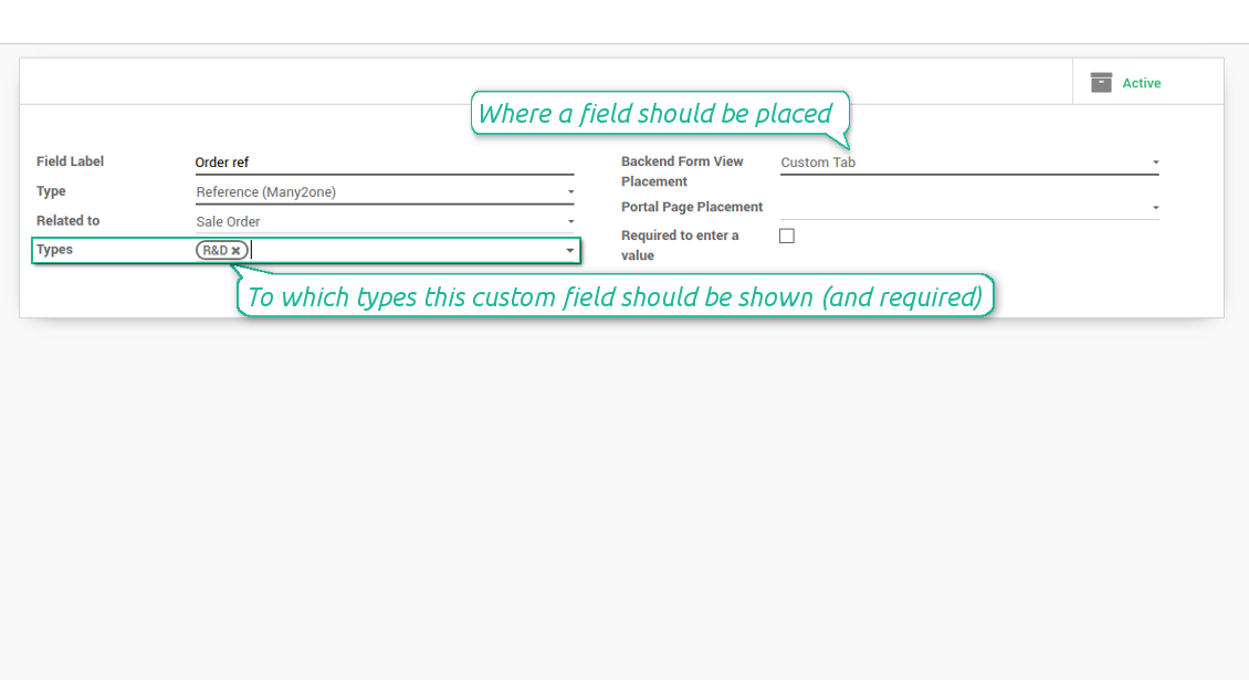 Custom fields depend on project types