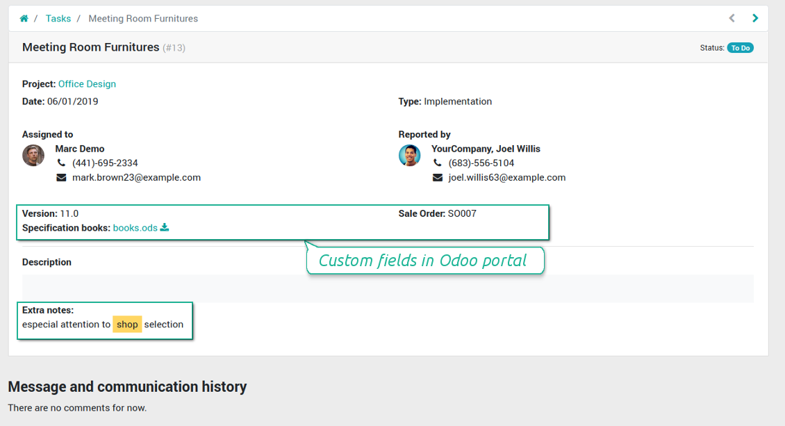 Tasks' custom fields in portal