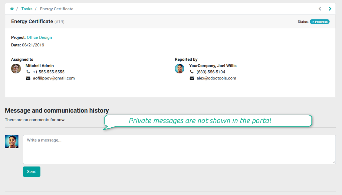 Portal private messaging